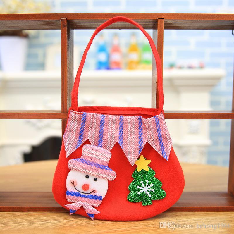 Renkli Çanta Apple Şeker Hediye Pratik Küçük Çanta Çocuk Kardan Adam Ren Geyiği Çuval Yılbaşı Ağacı Asılı Dekor 2 9qy F R