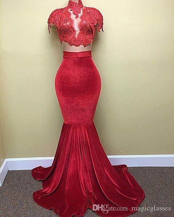 f19d48f02305a Elegant Two Piece Arab Dubai 2017 Fashionable Velour Mermaid Formal Evening  Dresses High Sheer Neck Lace Appliques Long Runway Prom Gowns