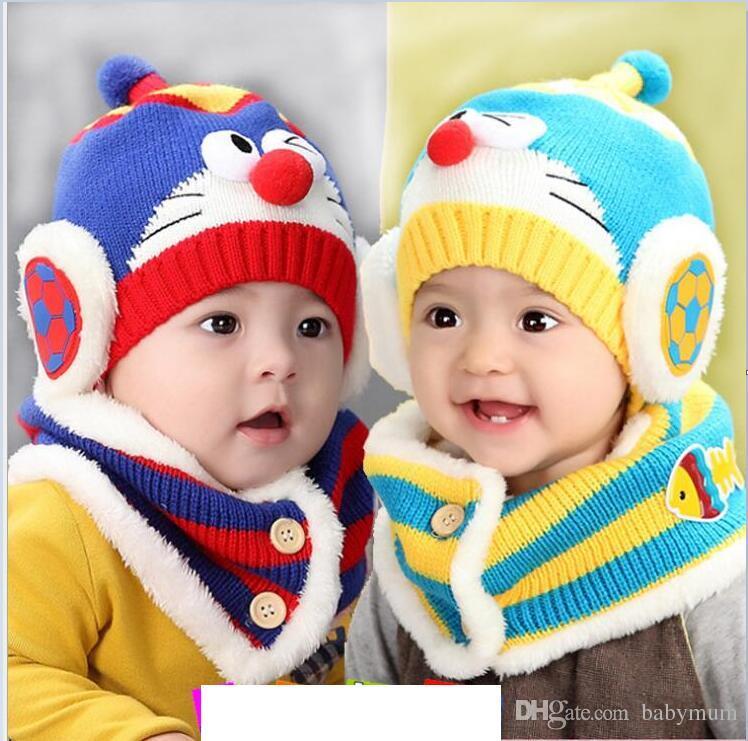 Kore tarzı bebek kış sıcak Caps ve Eşarp Seti yenidoğan tığ iplik Kasketleri Şapka Set Karikatür bebek şapka fotoğrafçılığı sahne
