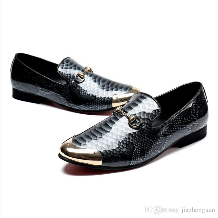 2017 новый стиль Марка бизнес повседневная мужская кожаная обувь крокодил зерна лакированная кожа мужская обувь британский указал вверх мужская кожаная обувь M369