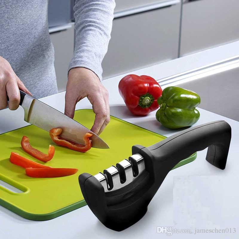 Nouveau Deux étapes Diamant Céramique Cuisine Couteau Aiguiseurs Pierre À Aiguiser Ménage Aiguiseur Couteaux De Cuisine Outils Couteaux Outils