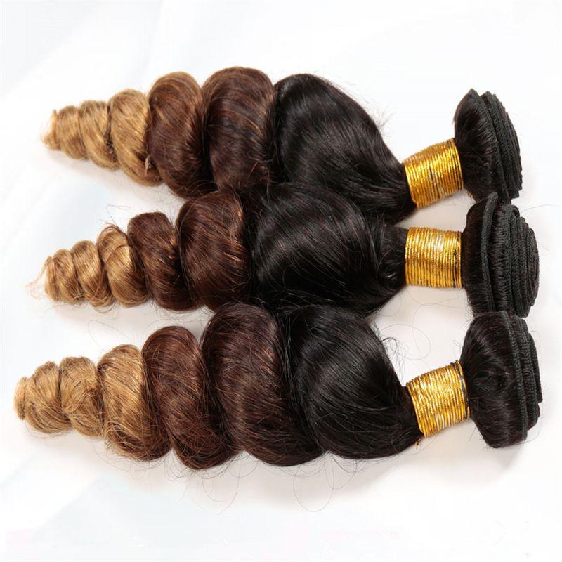 Ombre Peruvian Hair 3 Bundles Loose Wave Human Hair Extensions Three Tone Ombre Peruvian Loose Wave Hair Bundles