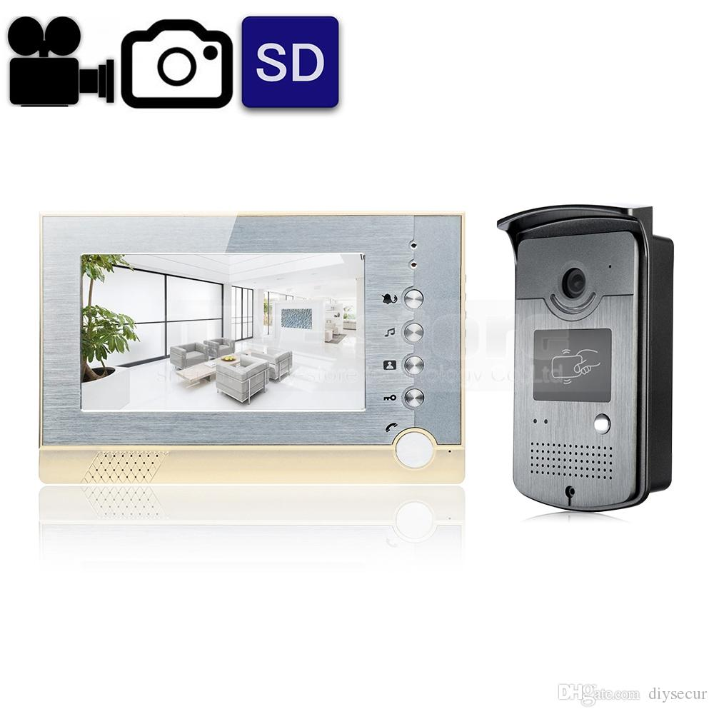 Video Record / Photograph 7 Inch Wired Video Door Phone Intercom ...