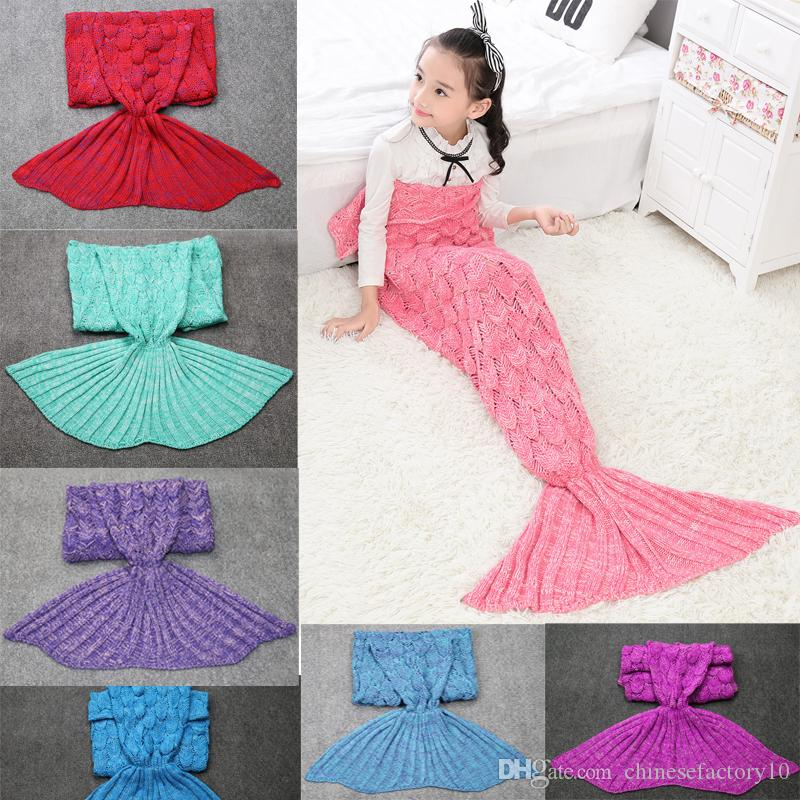 Hot Sale 140x70 Cm Kids Mermaid Tail Crochet Blankets Children Sofa