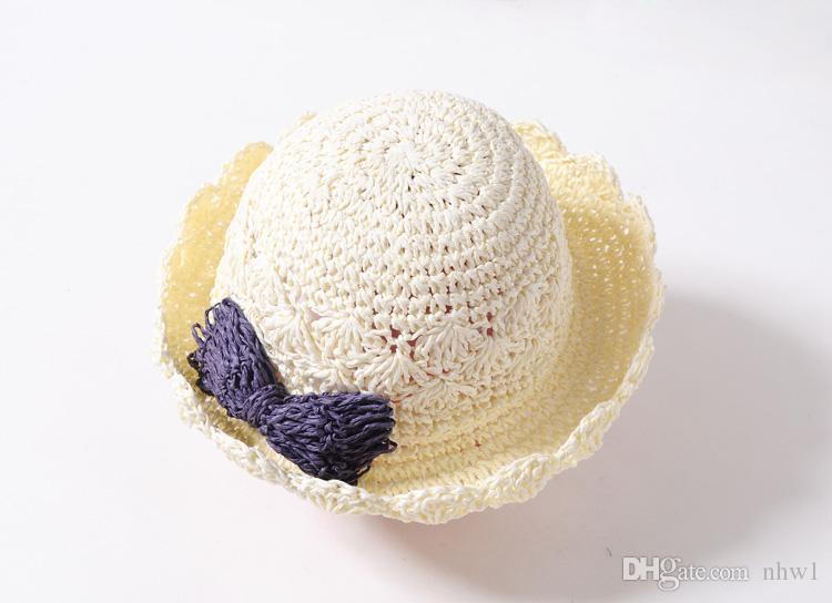 Baby Straw Hat Bowknot Beach Sunbonnet para niños Kids Girls Summer Princess Lovely Bow hueco plegable Straw Caps