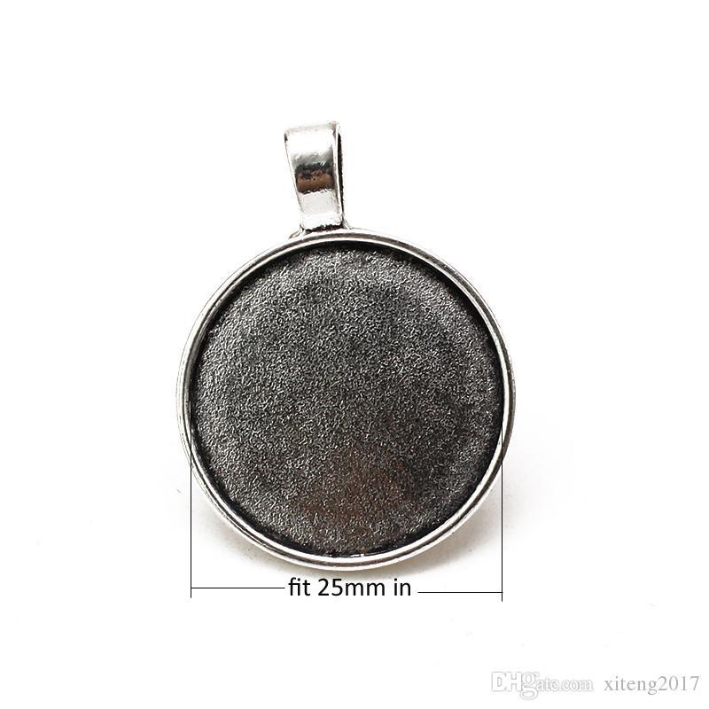 Silber Bronze Farben 25mm Halskette Anhänger Einstellung Cabochon Cameo Basis Tray Lünette leer Fit DIY 25mm Cabochon Schmuck machen Erkenntnisse