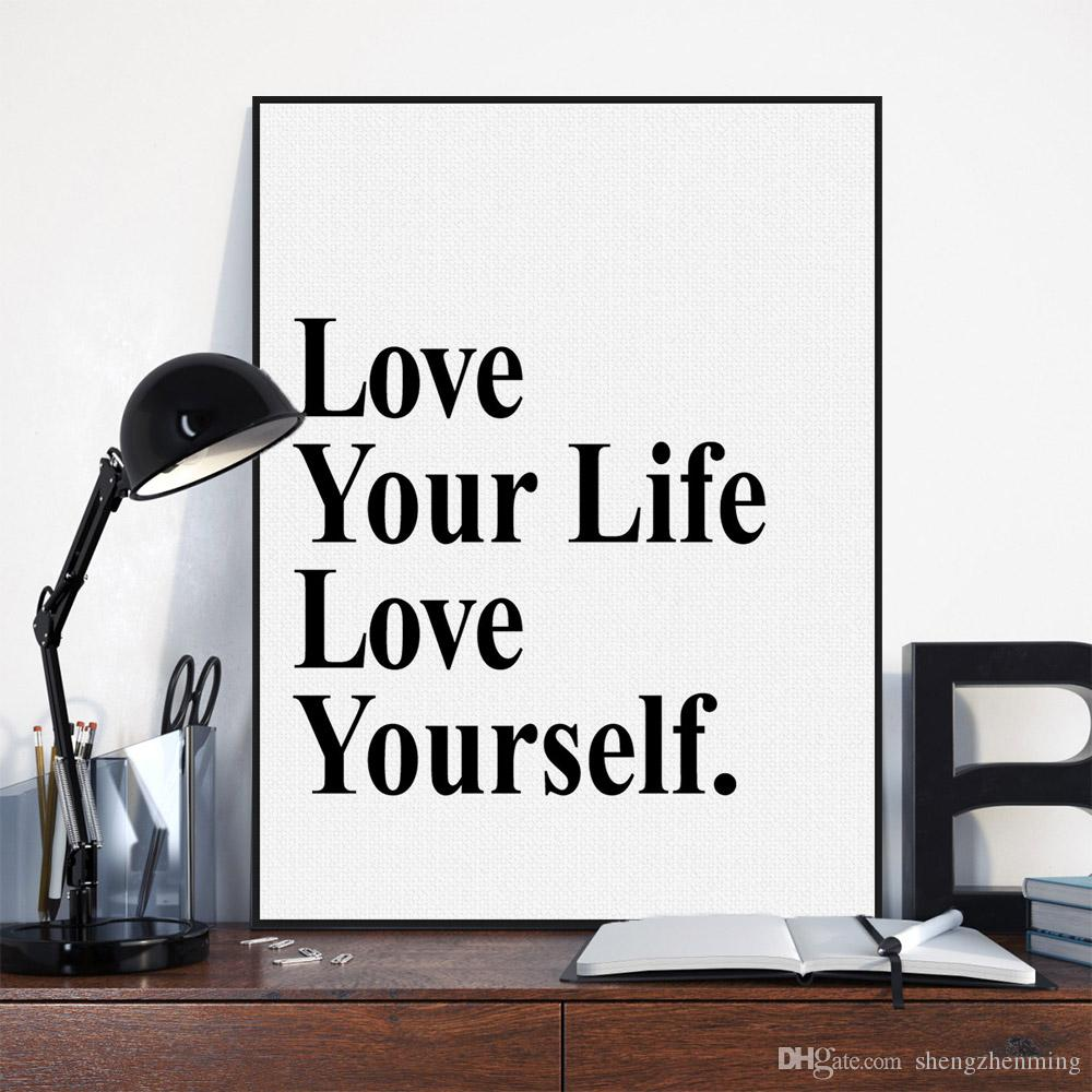 2018 Black White Minimalist Typography Love Life Quotes A4 Art Print ...