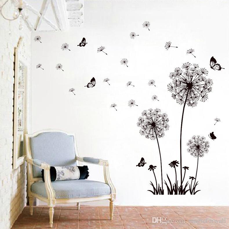 Negro Volar Dandelion Tatuajes de Pared Decoración Del Hogar Pegatinas de Pared Sala de estar Dormitorio Papel de Pared Cartel Romántico Decoración DIY Arte Mural