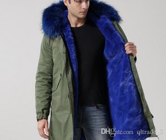 2018 Blue Fur Men Style Parka Mr & Mrs Italy 100% Real Rabbit Fur ...