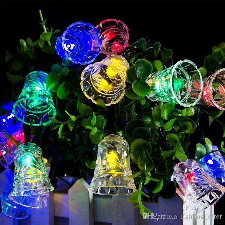 Cheap Solar Fairy String Light 20 Led Multi Color Bell Lights For