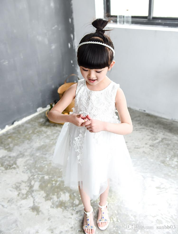 New Girls Formal Dress Kids Sleeveless Applique Bowknot Lace Tulle Tutu Party Dress Children Ball Gown Princess Sundress Child White Dresses