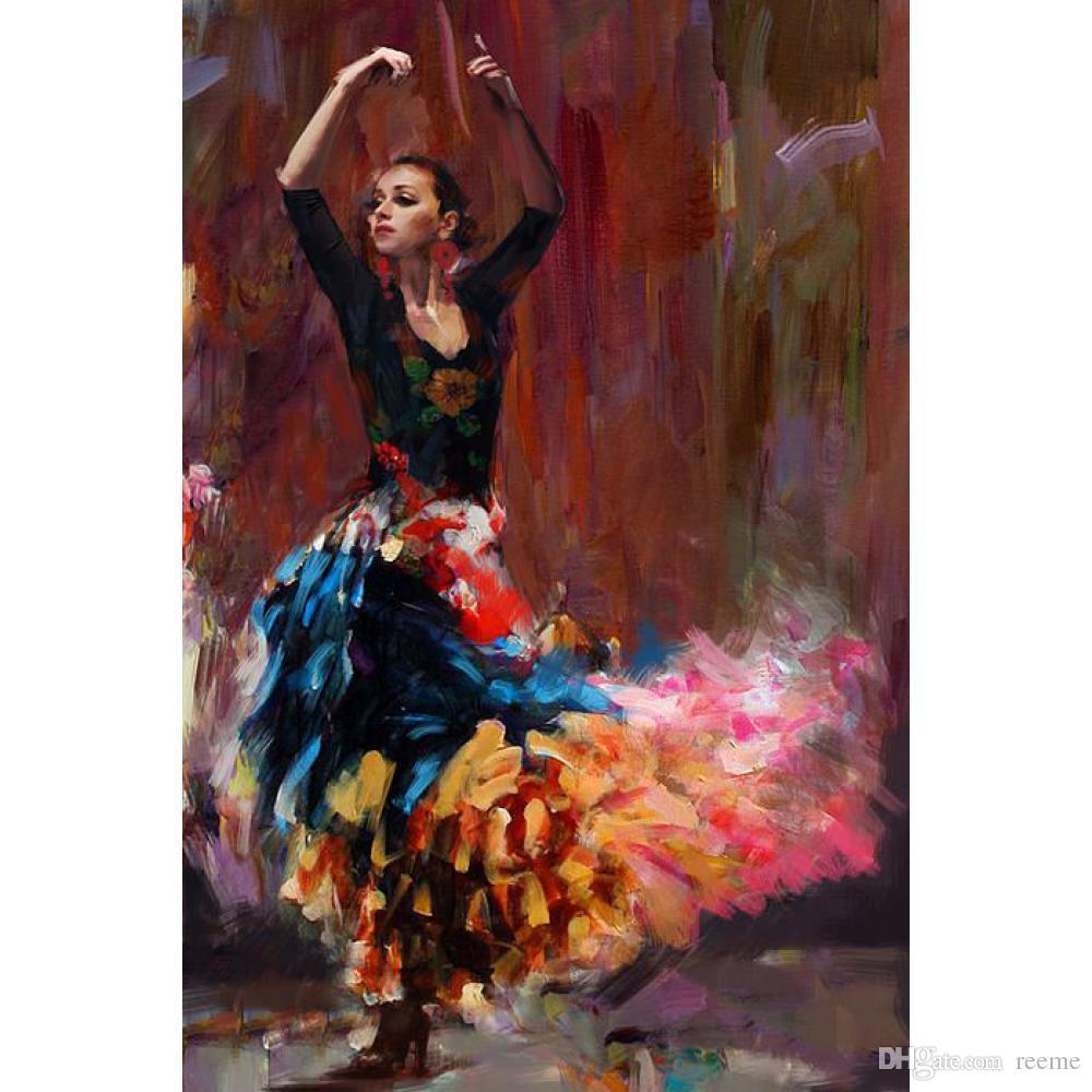 Acheter Portrait Huile Peintures Femme Flamenco Dancing Girl Art