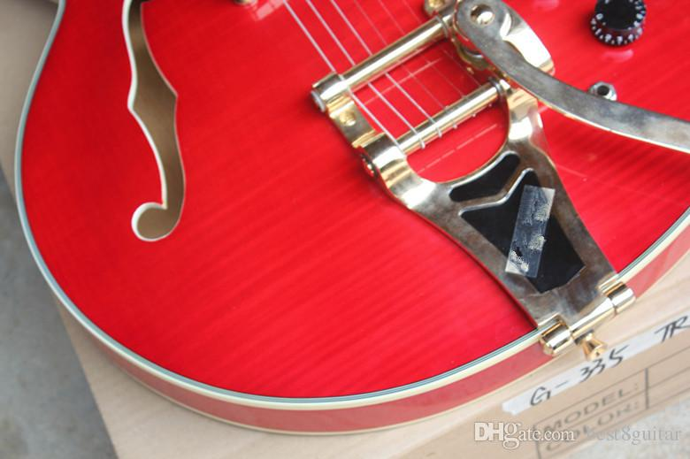 Hot Sale!! Top Quality Custom Shop Red Tiger Flame Maple Model 335 with Tremolo Jazz Electric Guitar Semi Hollow Body
