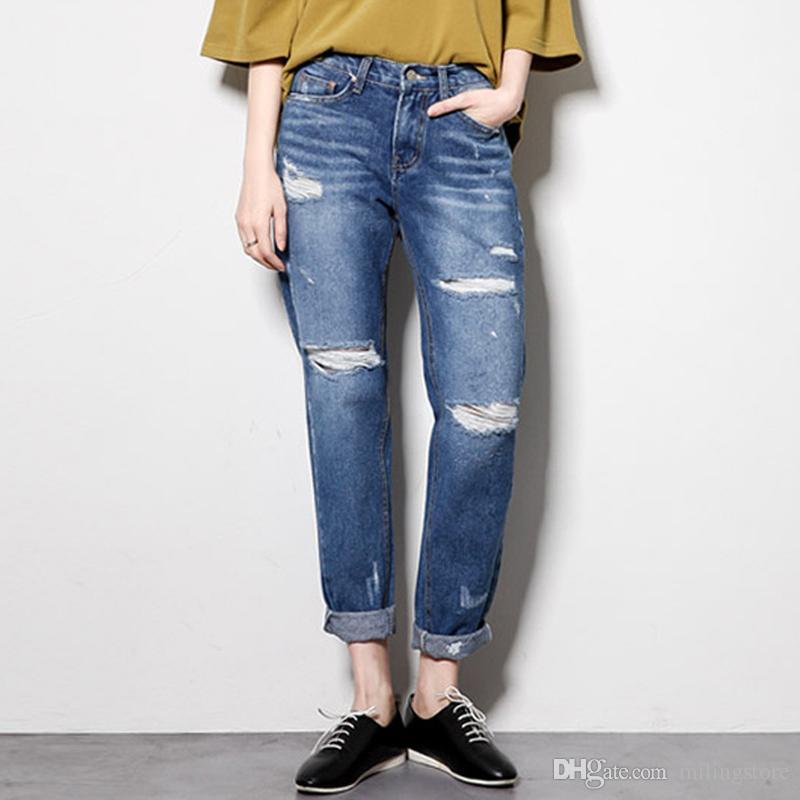 d5a989605 Compre Pantalones Vaqueros Rotos Para Mujeres Pantalones Vaqueros Boyfriend  Tallas Grandes Con Agujeros Jeans De Verano Capri Jeans De Algodón Harem A   25.2 ...