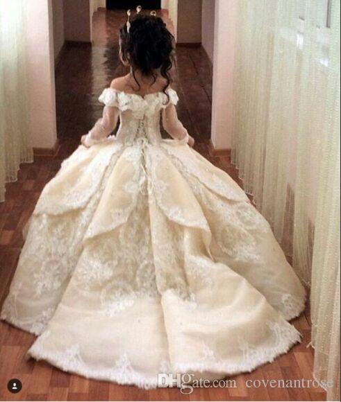 Çiçek Kız Elbise Tren ile Düğün için Dantel Balo Küçük Kızlar Pageant Elbise Beyaz Fildişi Kızlar için İlk Communion elbise