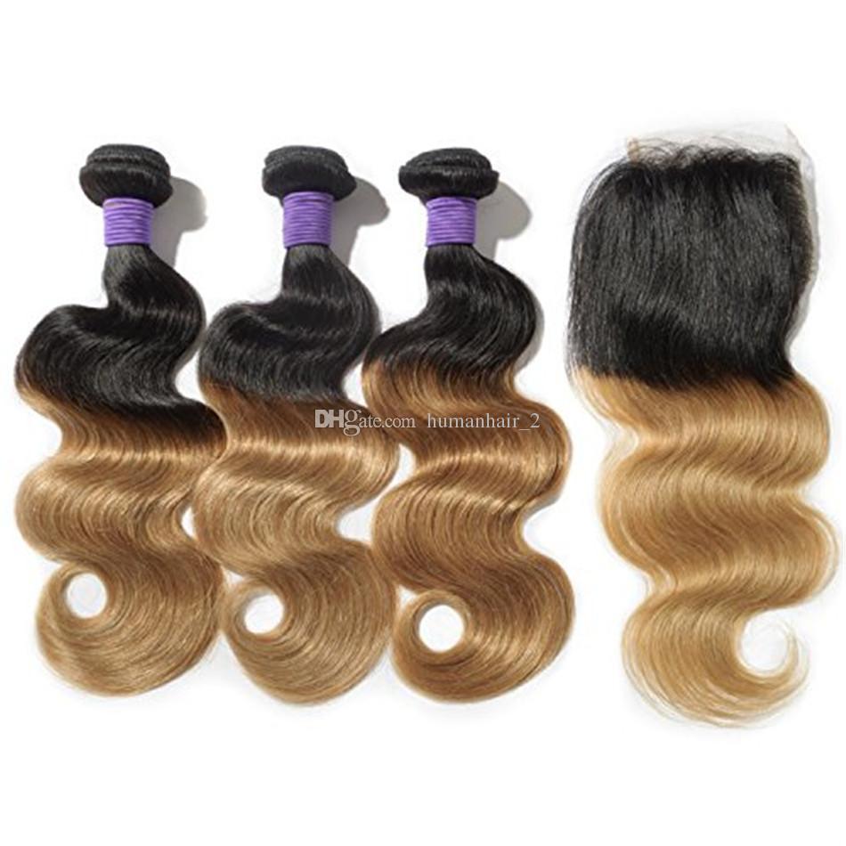 레이스 클로저 몸매 웨이브와 인간의 머리카락 Weave 4 * 4 상단 챙을 가진 Ombre 여보 금발 인간의 머리카락 브라질 버진 헤어 Wefts