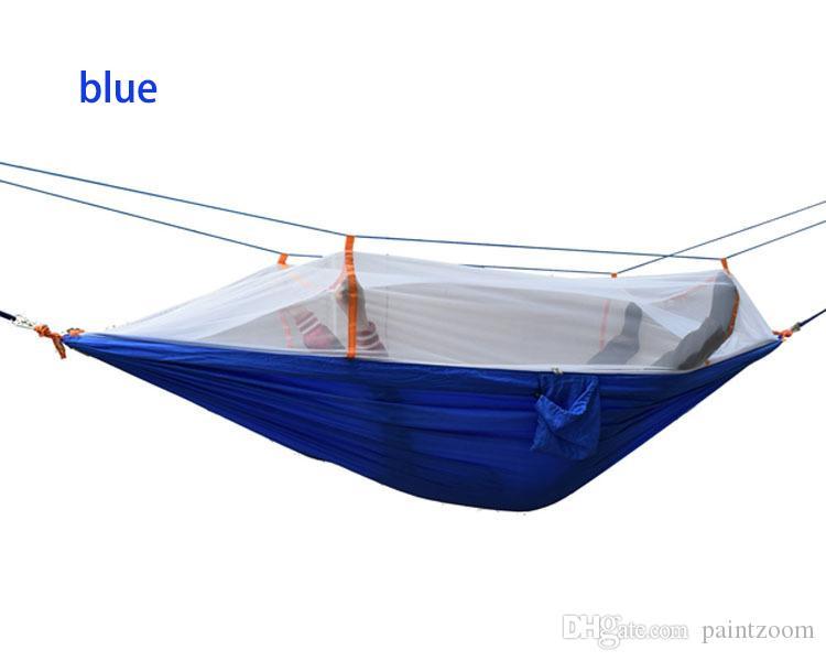 Открытый Портативный кемпинг Москитная сетка спальный гамак Высокопрочный парашют Ткань двуспальная кровать висит