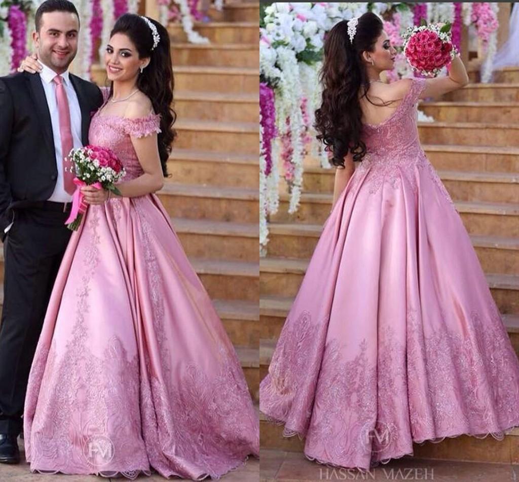Compre Piel Rosa Lace 2016 Árabe Vestidos De Novia V Cuello Con ...