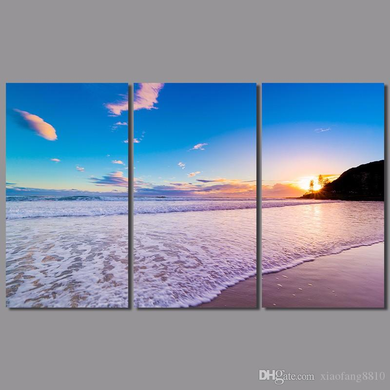 Pink sea sun decoration wave wall art pictures landscape purple wedding decor Canvas Painting living room unframed