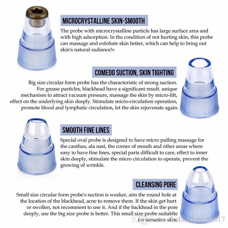 4 Kafaları Değiştirin Elektrikli Şarj Edilebilir Burun Gözenek Temizleyici Temizleyici Derin Temizlik Yüz Vakum Siyah Nokta Remover Cihazı