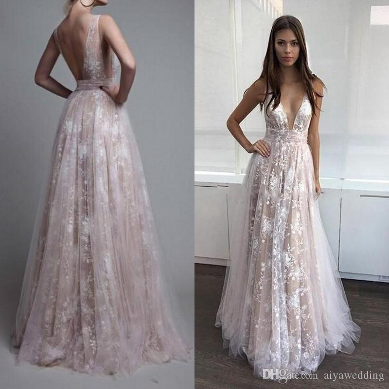Newest Lace Evening Dresses V Neck Tulle Ivory Nude Sexy Backless Paolo  Sebastian Prom Dresses 2019 Beach Berta Celebrity Dresses Vintage Evening  Dresses Uk ... 229f02bfe