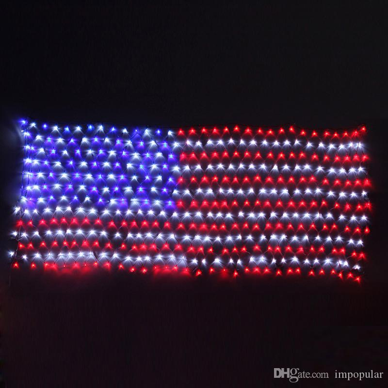 Cheap 110v 420 Bulbs American Led Flag Net Lights Festival