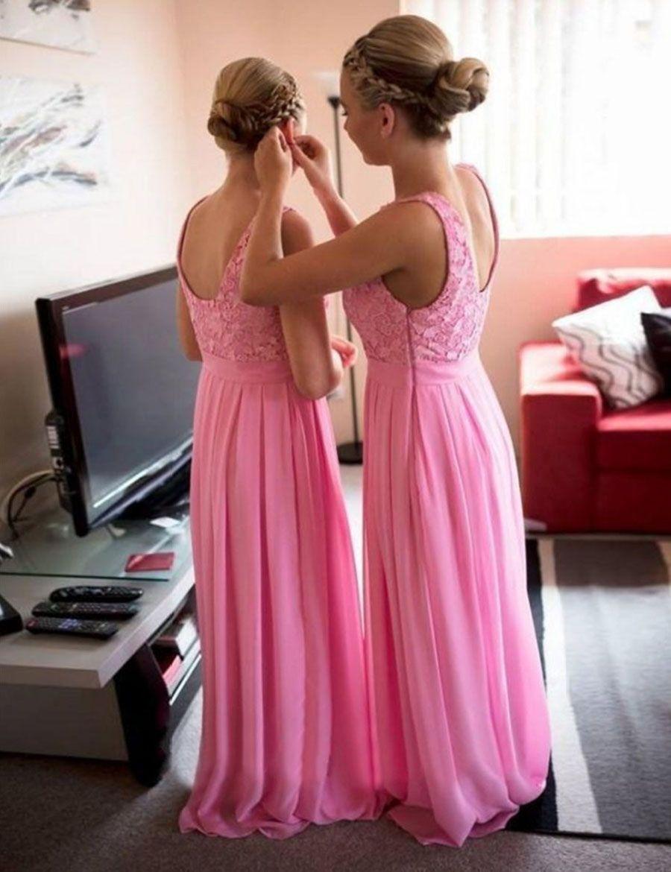 Simples Barato Pink Dama Dama Dama Dama 2016 Jewel Lace Chiffon Chiffon Longo Júnior Própria de Honra Vestidos de Casamento Noiva Formal Veste Barato