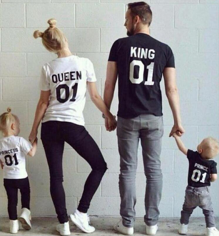 2016 New Family King Queen 01 Print Shirt 100 Cotton T
