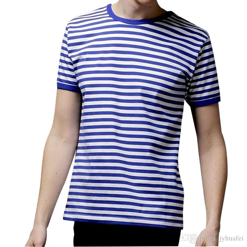 eff6bcfb8a72 Hot sale 2018 New Summer Fashion Men's Short Sleeve Stripe T Shirt Casual  Male O-neck Sailor Tops Navy T-Shirt Free Shipping