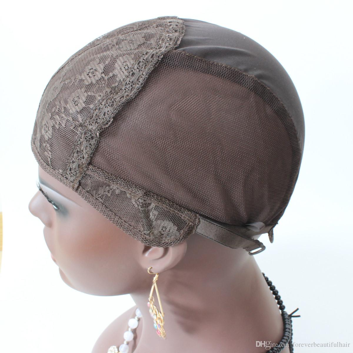 Jewish Wig Cap Brown Color S / M / L Glufteless Wig Caps för att göra peruker Stretch Lace Weaving Cap Justerbara band Medium Brown