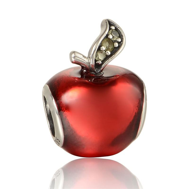 Disny Apple Charms Fits pandora Bracelet 925 Sterling Silver Bead Red Apple Silver Charm With Enamel European Women DIY Jewelry