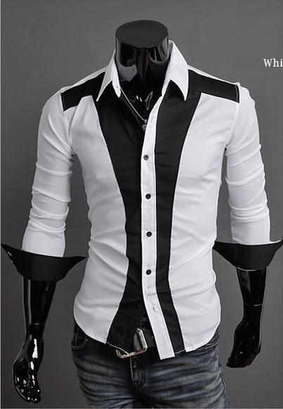 2017 2016 Fashion Mens Dress Shirts Stitching Lapel Shirts Long ...
