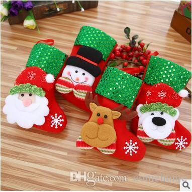 wholesale christmas decorations stocking santa claus deer snowman socks high quality can hang christmas stocking santa tree decoration country christmas - Country Christmas Stockings