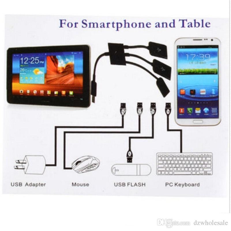 300 шт. / Лот * 3 в 1 микро USB-концентратор OTG Кабель Разъем Spliter 3 порта Micro USB зарядное устройство Зарядное устройство для Samsung Google Nexus