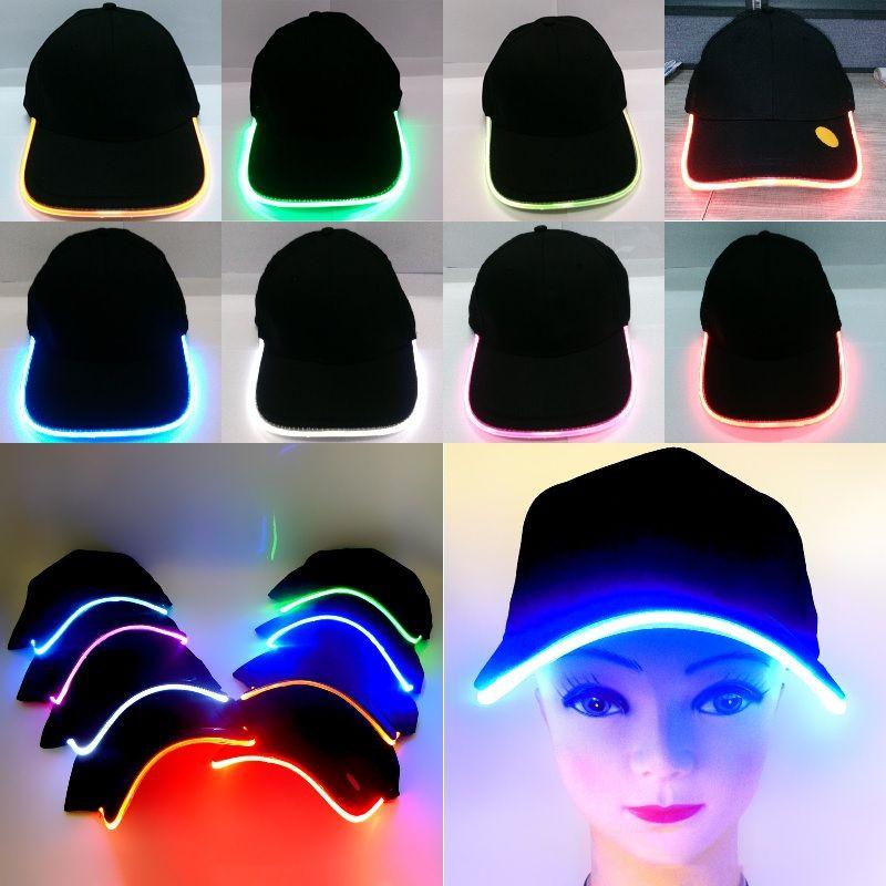 Heißer Verkauf führte leuchtende Partei-Baseball-Hut-Frauen-Mann-Hockey-Hysteresen-Basketball-Ball-Kappen-Unisexfaser-Optikhüte 8 Farben