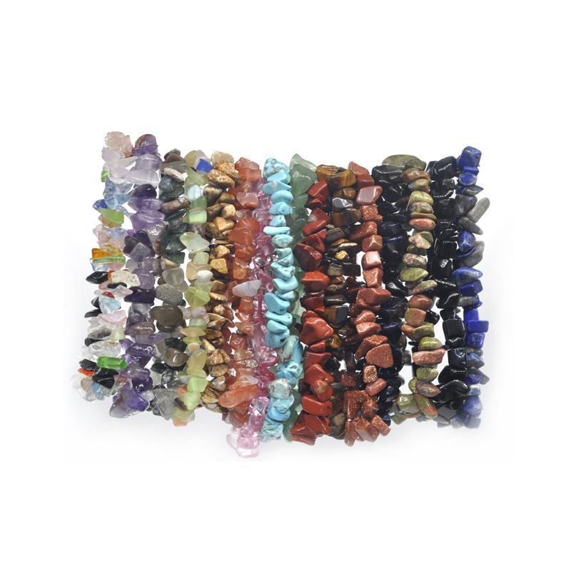 44c5b34de0b1 Al por mayor- 24pc verano pulseras de piedra natural brazalete de cristal  brazaletes de cuarzo grava cuentas de cristal pulsera de la joyería de los  hombres ...
