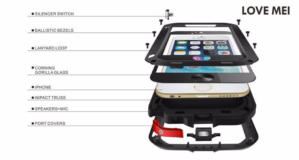 Love Mei case For iPhone 6 6s anti-knocked Metal Aluminum Rugged Tempered Gorilla Glass Case Cover