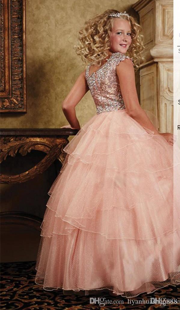 Lentejuelas que brillan hasta el suelo Vestido de fiesta de organza Vestidos para niñas pequeñas con escote joya Vestidos de niña de flores de organza en capas
