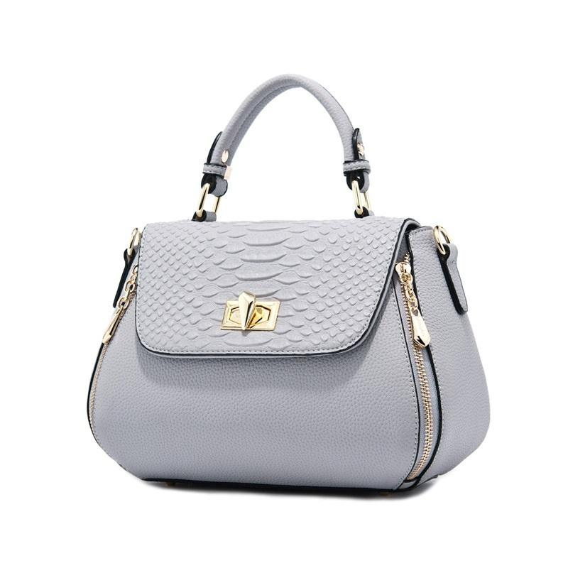 7190d4eef56 DOODOO Women Genuine Leather Handbags Silver Women Messenger Bags ...