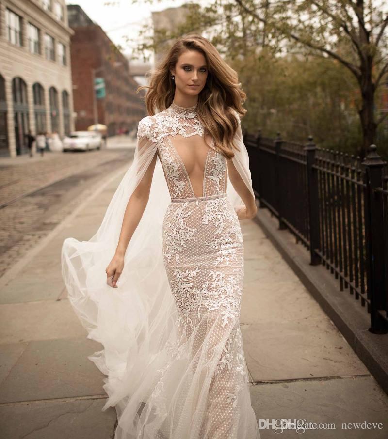 2019 Berta Laço Sereia Vestidos De Noiva Destacável Cabo Pulso De Pescoço Backless Nupcial Tule Sheer Plus Size Wedding Dress