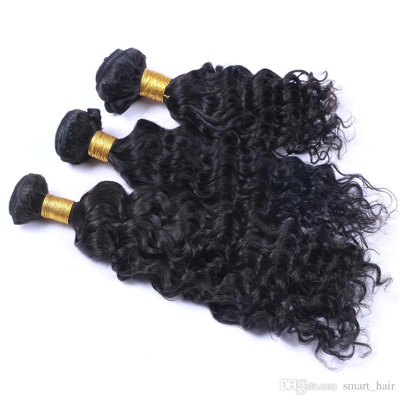Frontales de encaje completo de onda profunda con paquetes de cabello / lote brasileño cabello virginal teje con oreja a frente de encaje frontales para mujer negra
