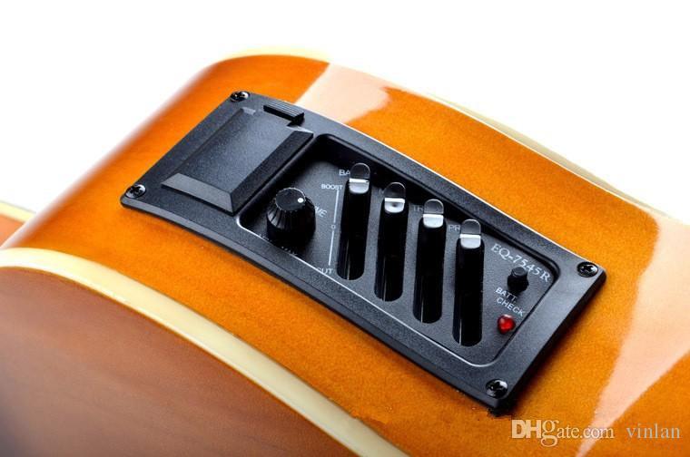 Professionale 4-Band EQ chitarra acustica classica pickup Guitar Preamp Amplifier Tuner parti di chitarra strumenti musicali