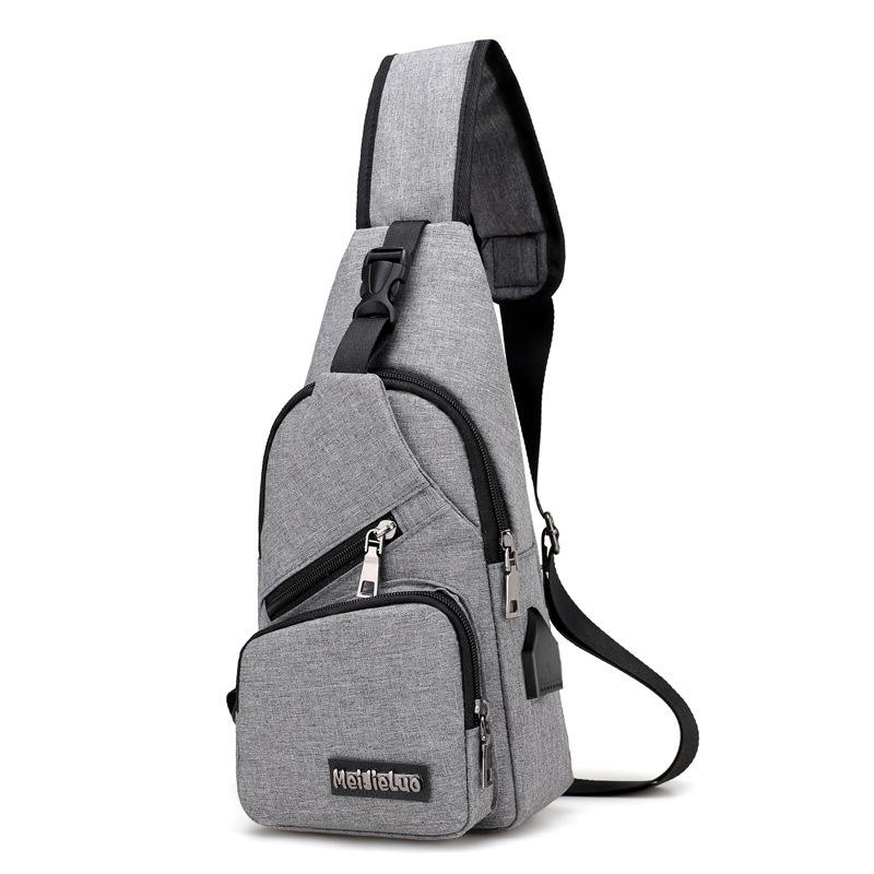 External USB charge chest bags pack Travel Messenger crossbody bag For Mens Womens Sling Shoulder Bag Travel Sport Purse with USB Charging