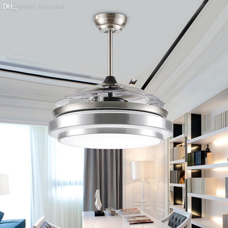 wholesale folding ceiling fan led strip ventilador de teto modern ceiling fans with lights quiet fan light home lighting lustre abajur luz from
