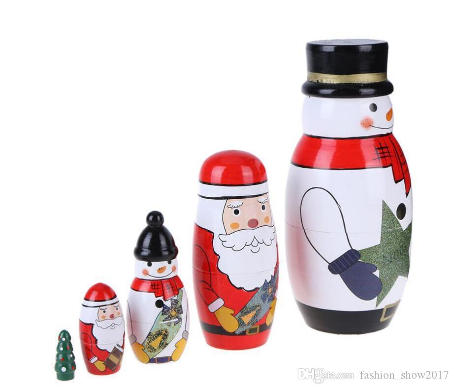 Ahşap Matryoshka Bebekler Bebek Oyuncak Yuvalama Bebekler Güzel Noel Kardan Adam Noel Baba Resim Rus Bebekler Çocuklar Hediye