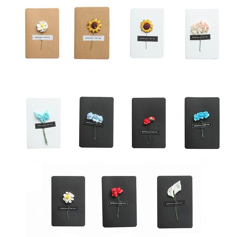 손으로 만든 크리스마스 인사말 카드 말린 꽃 DIY 빈티지 크래프트 종이 고맙습니다 카드 기념일 카드 시뮬레이션 꽃 카드