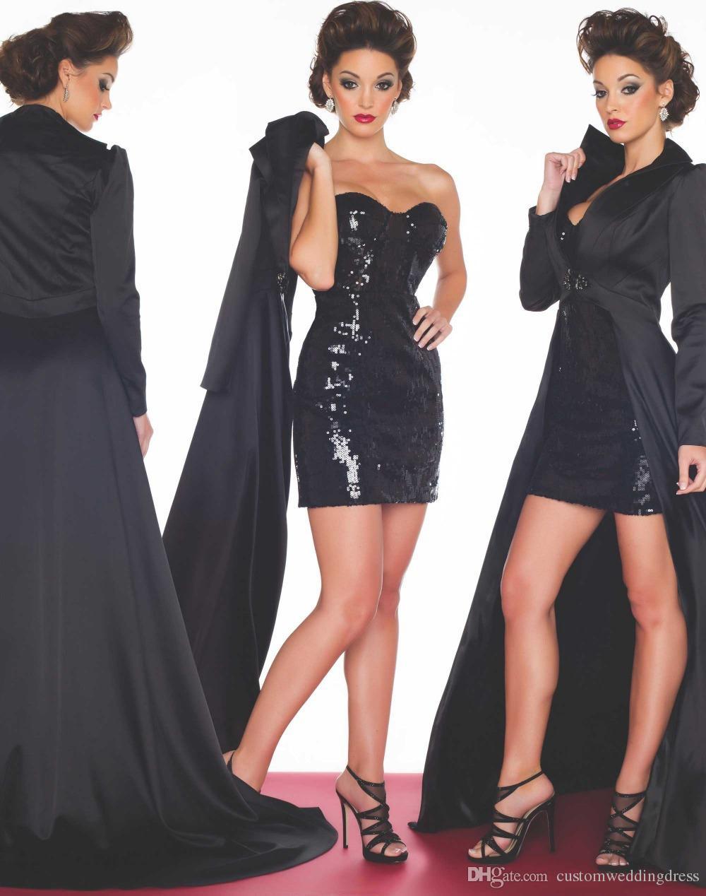 Vestido 2018 New fashion Gaine courte Black sequin robes de bal à manches longues veste à longue queue manteau Robe de soirée d'hiver