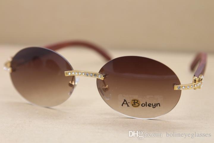 5a35e22ffe Compre Nuevo Rimless Big Diamond Glasses Redondo Decoración Marco De Madera  Marco Gafas De Sol Hombres Marca De Lujo Tamaño: 56 18 140mm A $81.22 Del  ...