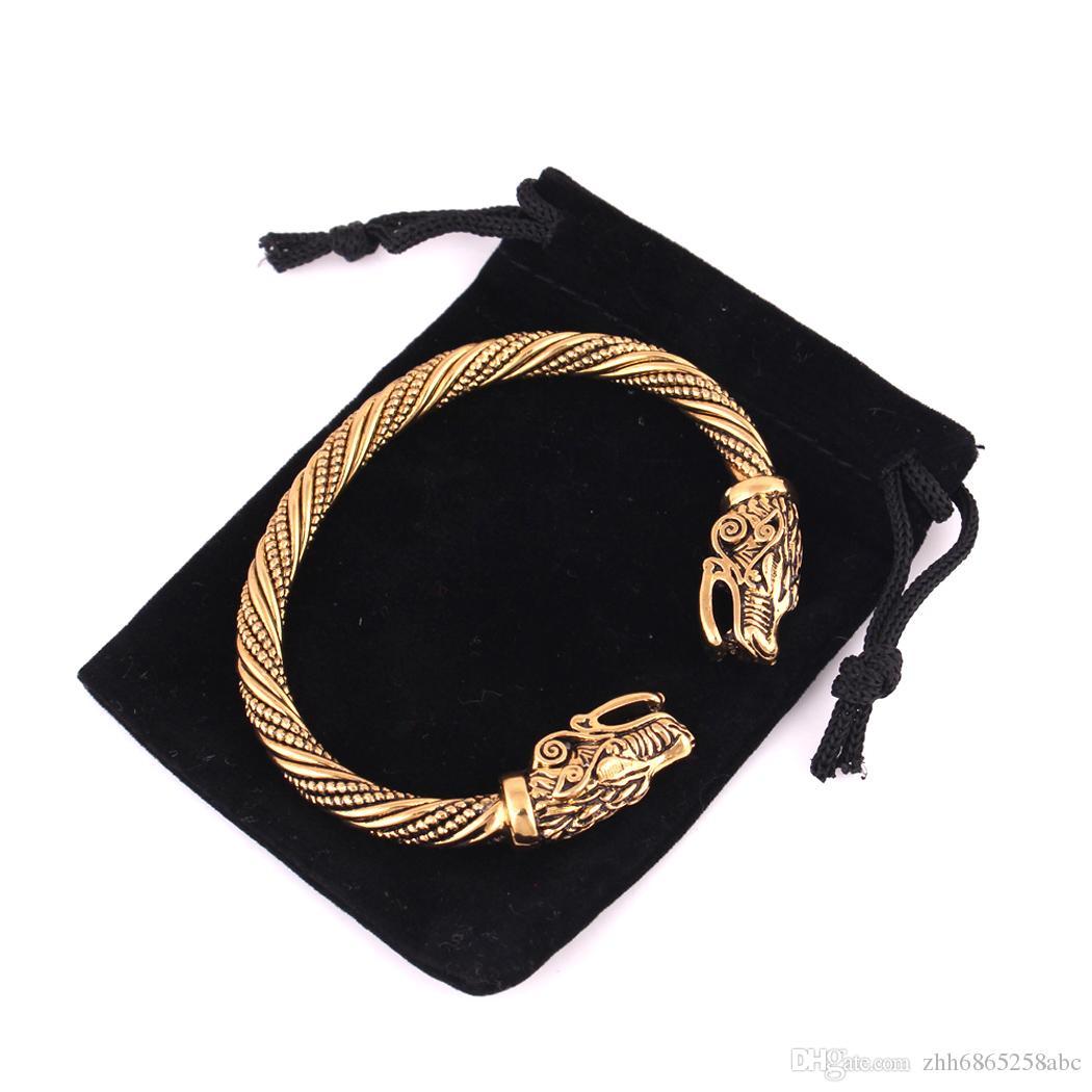 Wicca Amulett Solomon Pagan Schmuck Silber oder Gold Viking Pagan Gothic Wolf Kopf Zinn Armband nordischen Schmuck Totem Viking Armband