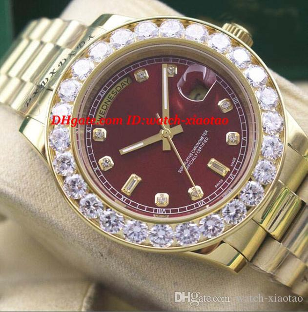 luxury watches mens gold red dial bigger diamond bezel watch chest 41mm automatic fashion brand menu0027s watch wristwatch luxury watches men watches